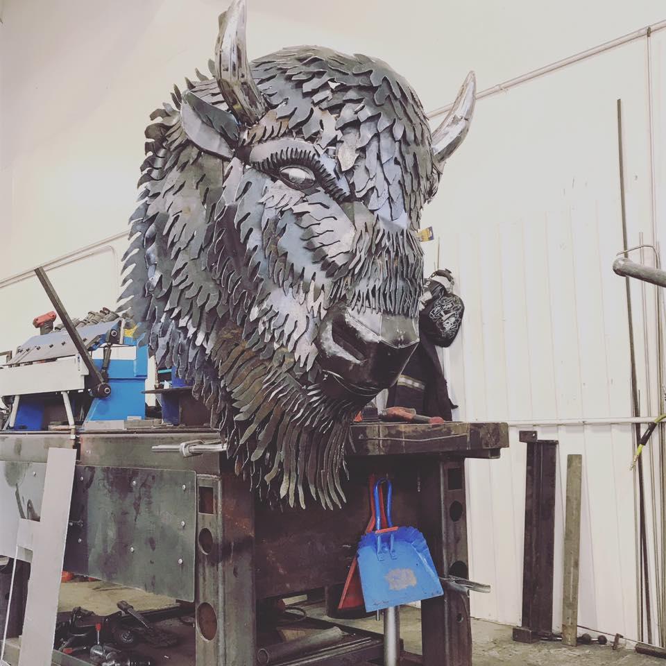 Metal Buffalo Head Sculpture